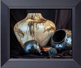 Five Native American Pots, One White With Horsehair Markings, Canvas Print