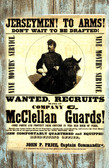 Civil War REcruiting Poster McClellan Gaurds Needed Old Wood Sign 11 x 11 X 1
