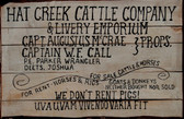 Hat Creek Cattle Company Lonesome Dove Wood Sign We Don't Rent PIgs