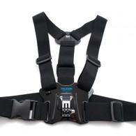 """El arnés """"Chesty"""" facilita la captura de fotos y vídeo envolventes desde, bueno... tu pecho. Perfecto para esquí, ciclismo de montaña, motocross, deportes de remo, o cualquier actividad donde es deseable una visión de la acción más atractiva, """"por debajo del casco"""". Tendrás una visión más completa de tus brazos, rodillas y palos al esquiar... o de tus brazos y el manillar cuando vayas en bicicleta o moto.     Totalmente ajustable a una gran variedad de tallas de adulto."""