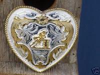 German Silver Heart/Barrel Racer Belt Buckle