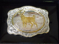 Crumrine White Tail Western Sport Belt Buckle