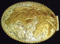 Crumrine Horse Heads Western Belt Buckle
