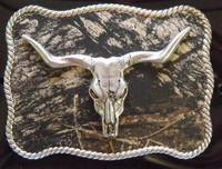 Nocona Mossy Oak/Longhorn Skull Belt Buckle