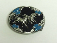 Running Horses On Enamel Belt Buckle