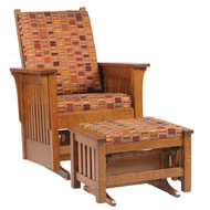 Amish Handcrafted 1300 Mission Glider and Ottoman