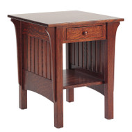 Amish Handcrafted 1800 Mission End Table With Drawer