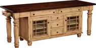 "IS-205    NOTE: Available with glass or wood doors. 2 Doors, 7 Drawers & 2 Adjustable Shelves Width 92"" Depth 24.5"" Height 34.5"""