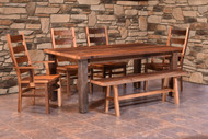 Amish Handcrafted Barnwood Almanzo Table & Barnwood Ladderback Chairs