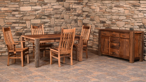 Amish Handcrafted Barnwood Timber Ridge Table & Barnwood Mission Chairs