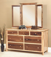 Amish Handcrafted Cornwell Dresser With Tri- View Mirror