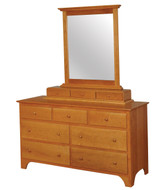 Amish Handcrafted Shaker Dresser With 3-Drawer Jewelry Box & Large Mirror