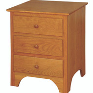 Amish Handcrafted Shaker 3-Drawer Nightstand