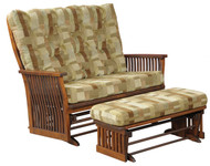 Amish Handcrafted 70 Mission Loveseat Glider & Gliding Loveseat Ottoman