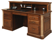 "Amish Handcrafted Jefferson Executive Desk With 12"" Cubby"