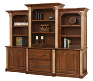 "Amish Handcrafted Jefferson 98"" Base & 3-Piece Hutch"