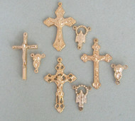 8 Rosary Crucifixes & Centers GOLD