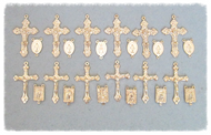 Lot of 24 Rosary Crucifixes & Centers GOLD