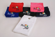 100% Cotton Tri-Fold Towel with Clasp. Available in white, black, navy blue, royal blue, pink and red.