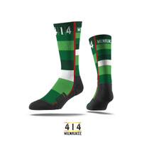 Proud to partner with Strideline socks to present the 414 Irish Rainbow Socks. This is a tribute to the proud history of the Milwaukee Bucks. The Irish rainbow is a retro design feature running up and down the sides of the home and away uniform of the 1980s. Be proud of the city of Milwaukee and its basketball team.These dudes are the cutting edge in footwear socks. With sweat wicking technology these 414 socks with diamond shape pattern are enhanced to keep your feet dry in the most extreme sweating conditions.