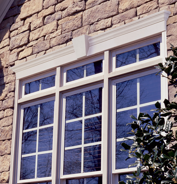 window with keystone and crosshead