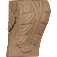 "2 1/2""W x 2 1/4""D x 4""H Small Acanthus Leaf Block Corbel, Cherry"