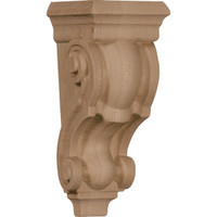 "3 1/2""W x 3""D x 7""H Small Traditional Corbel, Mahogany"