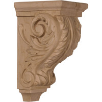 "3 1/2""W x 4""D x 7""H Small Acanthus Wood Corbel, Paint Grade"