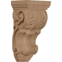 "4 1/2""W x 5""D x 10""H Medium Traditional Acanthus Corbel, Red Oak"