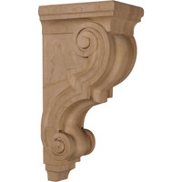 """5""""W x 6 3/4""""D x 14""""H Large Traditional Wood Corbel, Paint Grade"""