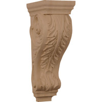 """6""""W x 7 1/2""""D x 18""""H Extra Large Acanthus Wood Corbel, Red Oak"""
