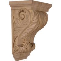 """8 1/2""""W x 6 1/2""""D x 14""""H Large Wide Acanthus Wood Corbel, Paint Grade"""
