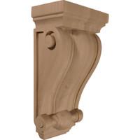 """7 1/2""""W x 4 1/2""""D x 14""""H Cole Pilaster Wood Corbel, Red Oak"""