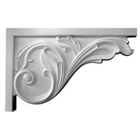 """11 3/4""""W x 7 3/4""""H x 3/4""""D Large Acanthus Stair Bracket, Right"""