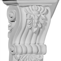 """4 1/8""""W x 3""""D x 5 3/4""""H Leandros Fluted Leaf Corbel"""