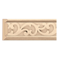 "MLD7024RO_3 1/2"" Panel Moulding w/ Baroque Insert Red Oak"