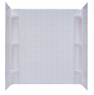 """Mobile Home Three Piece Surround With Shelves (White) For 27""""X54"""" Tub / Shower"""