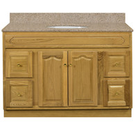 "Appalachian Oak Vanity - 48""W X 21"" D X 34.5"" H  - 2 Door 4 Drawer (2 Left 2 Right)"