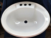 "Mobile Home/ RV Lavatory Sink Size 17""X20"" Oval White"