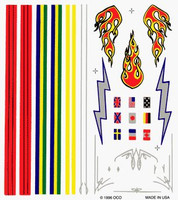 Stripes & Flames Dry Transfer Decals Pinecar