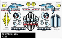 Silver Shark Stick-On Decals Pinecar