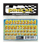 Yellow Numbers Dry Transfer Pinecar