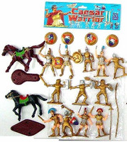 Caesar Knights & Horses Playset (12 Knights w/Shields & Weapons, 2 Horses & Access.) (Bagged)  Playsets