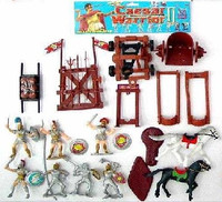 Caesar Knights & Chariots Playset (7 Knights w/Shields & Weapons, 2 Chariots, 2 Horses, Cannon & Access.) (Bagged) Playsets