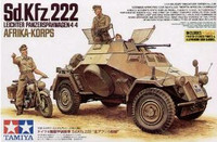 SdKfz 222 w/DKW NZ350 Motorcycle North African Campaign 1/35 Tamiya