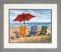 "Beach Chair Trio (Beach Scene w/Chairs & Umbrella) (14""x11"") Med.Paint by Number Dimensions"