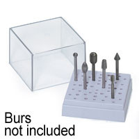"Square Plastic Burr Stand (For Storing 34-3/32"" & 18-1/18"" Shank Accessories) Zona Tools"