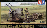 German 20mm Flak 38 Gun w/Trailer 1/48 Tamiya