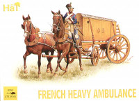 Napoleonic French Heavy Ambulance (3 Sets) (1 Soldier, 2 Horses & 3 Ambulance) 1/72 Hat
