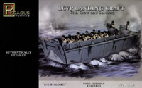 LCVP Landing Craft w/Pre-Painted Water Base, 15-Soldiers & 3-Crew (Snap Kit) 1/72 Pegasus